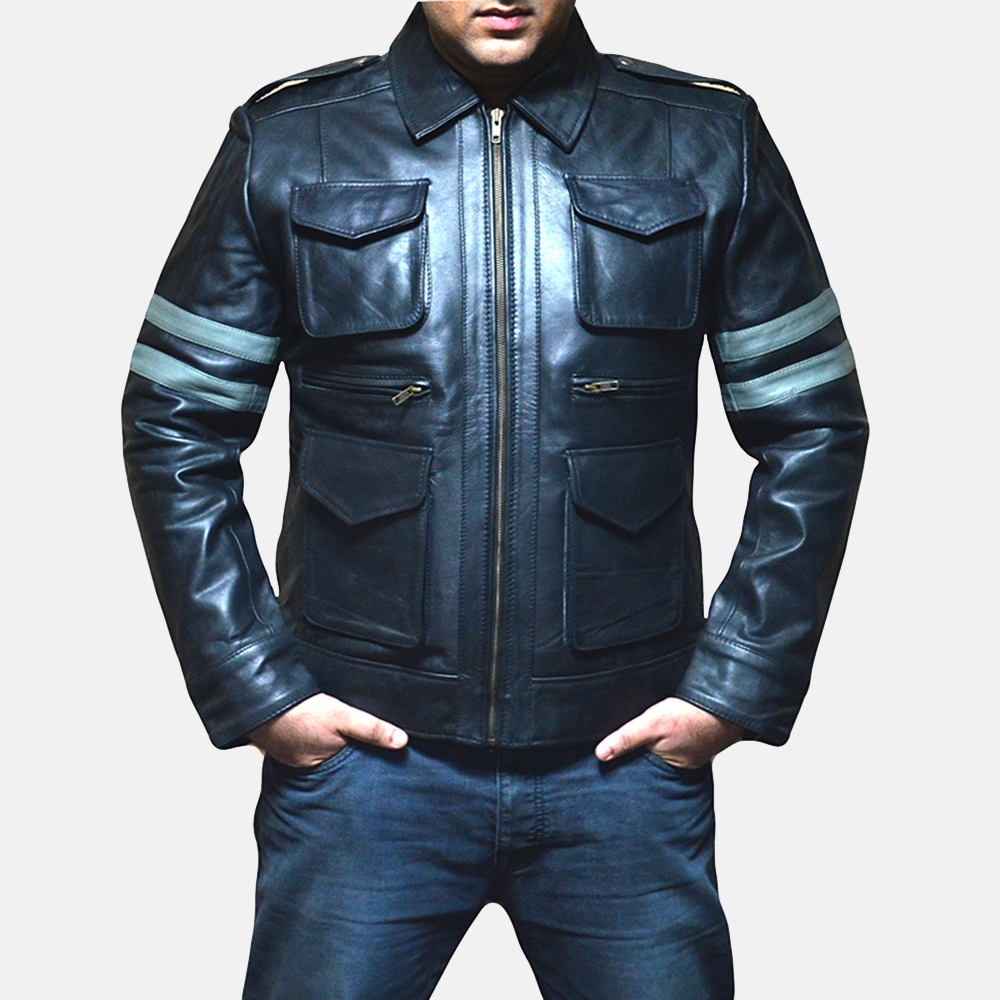 Mens Armstrong Black Leather Biker Jacket 1