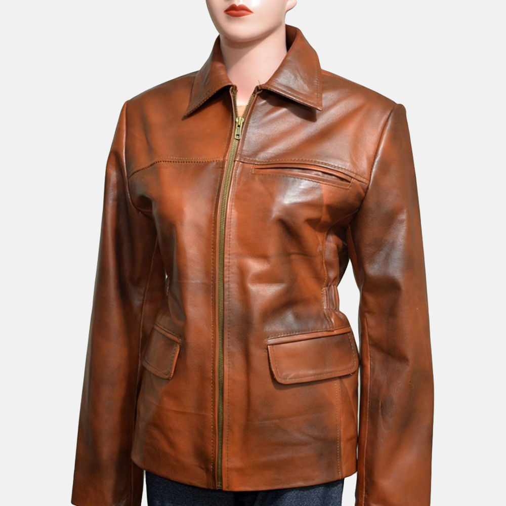 Womens Mildred Vince Brown Leather Jacket 1