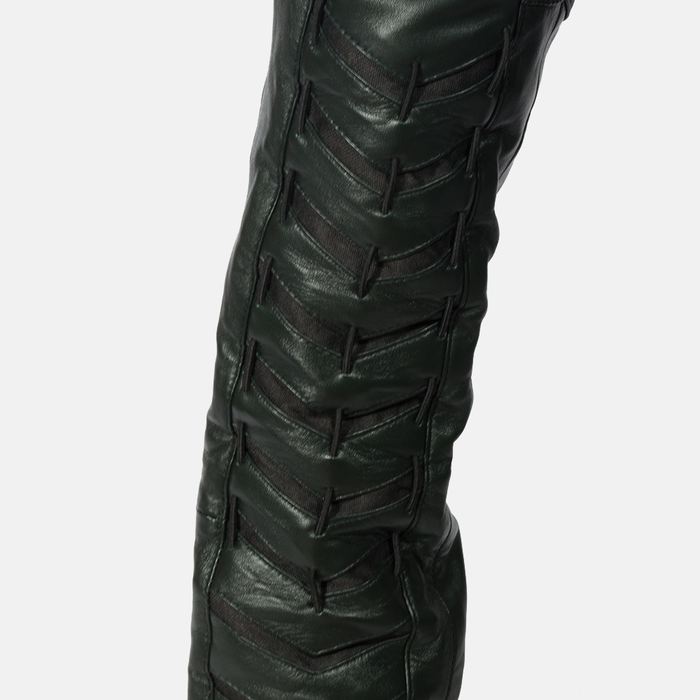 Mens Green Leather Pants 4