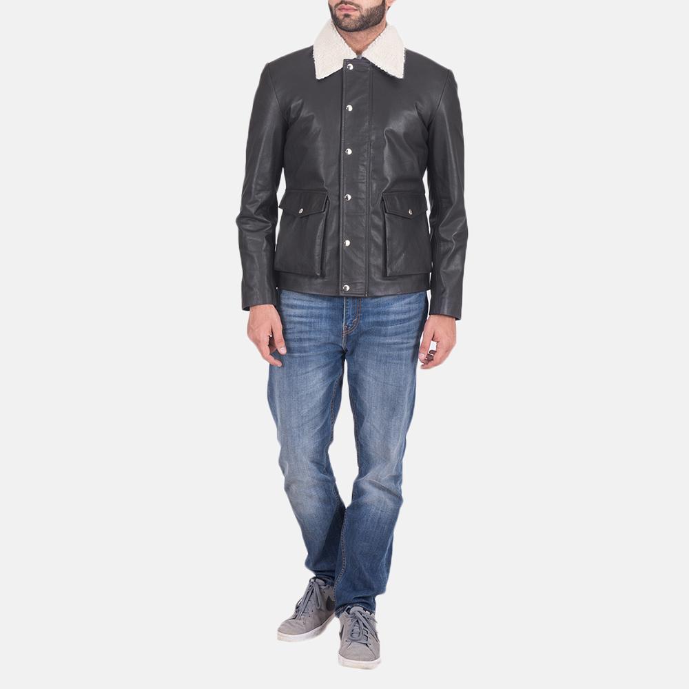 Mens Snow Cole Black Leather Jacket 2