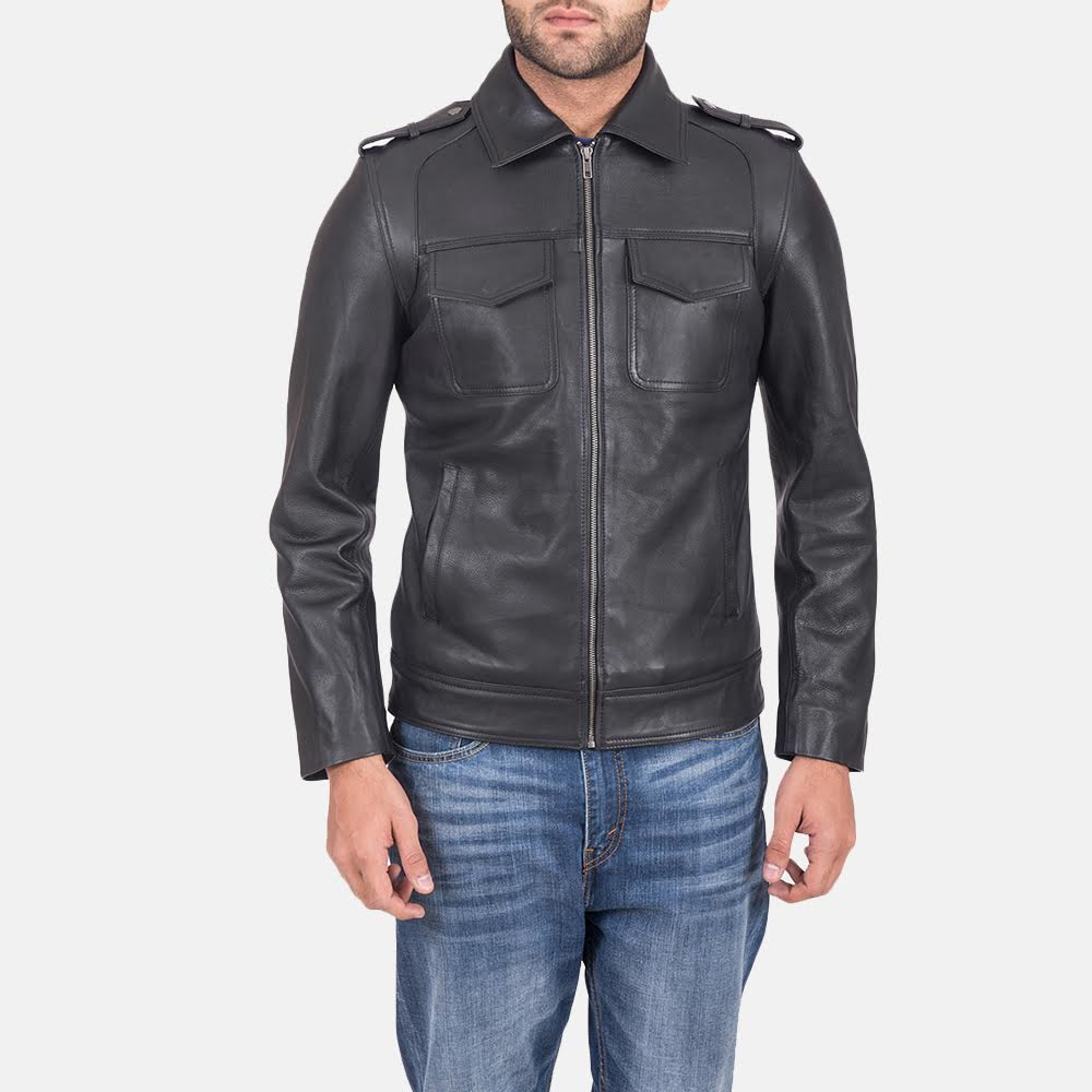 Men's Sergeant Black Leather Jacket 1