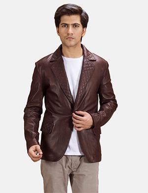 Mens Radaron Quilted Maroon Leather Blazer