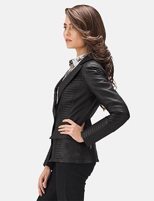 Womens Selina Black Leather Blazer