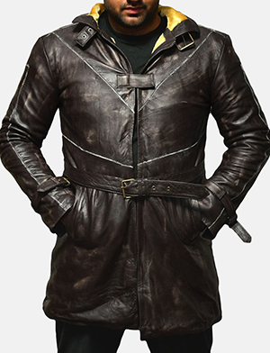 Mens Nixon Distressed Brown Leather Coat