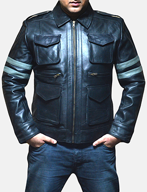 Mens Armstrong Black Leather Biker Jacket