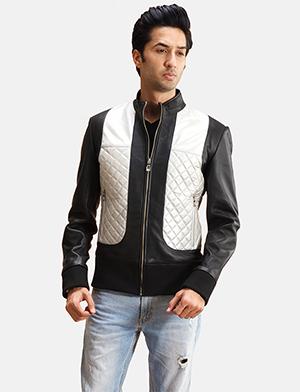 Mens Texan Silver Black Leather Bomber Jacket