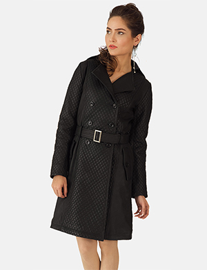 Womens Sweet Susan Black Leather Trench Coat
