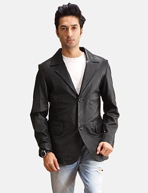 Mens Alyson Black Leather Blazer
