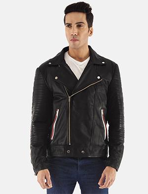 Mens Highfield Black Leather Biker Jacket