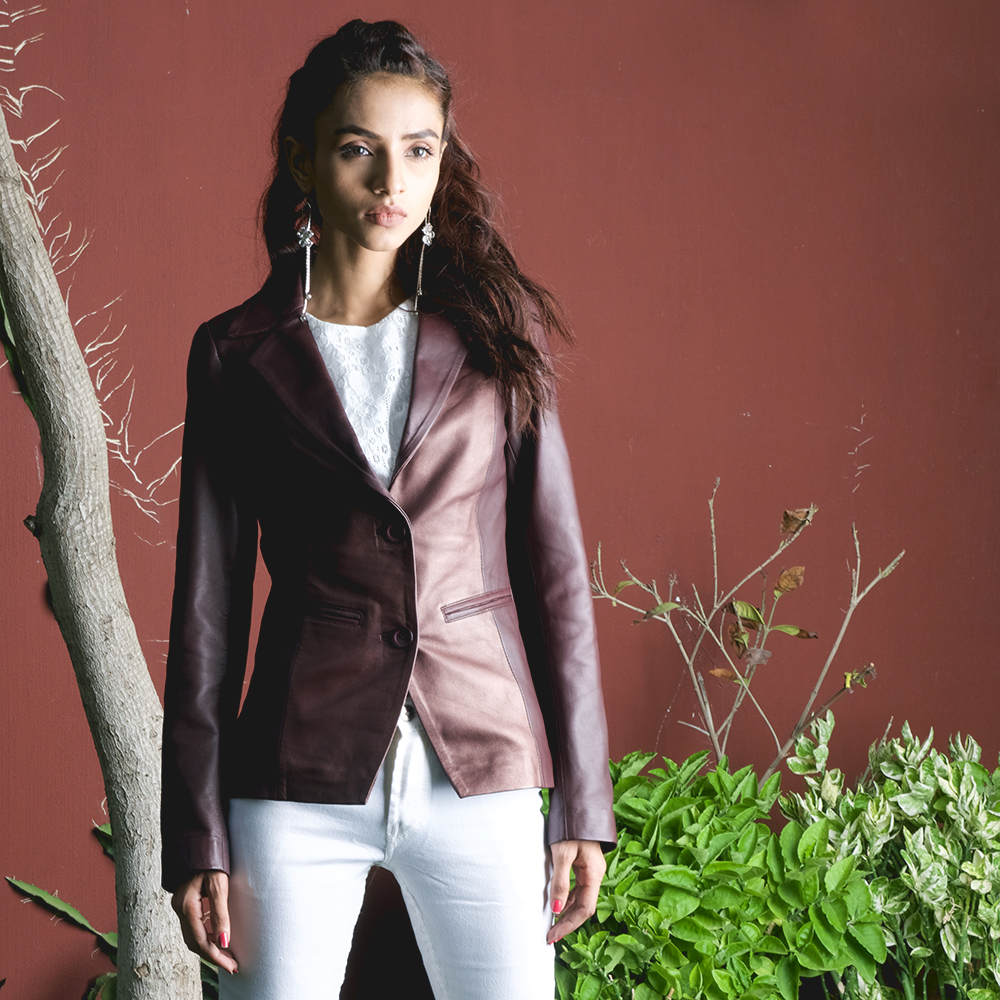Womens Ruby Metallic Maroon Leather Blazer 6