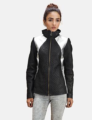 Womens Alia Metallic Black Leather Biker Jacket