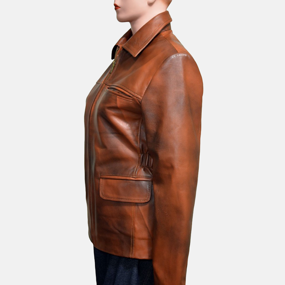 Womens Mildred Vince Brown Leather Jacket 2