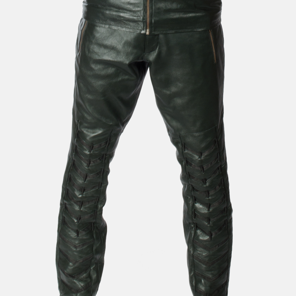 Mens Green Leather Pants 1