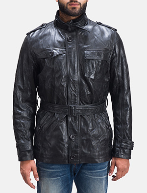 Mens Rumpleskin Black Leather Jacket