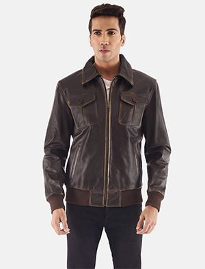 Mens Aaron Brown Leather Bomber Jacket