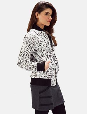 Womens Donna Blake White Leather Bomber Jacket