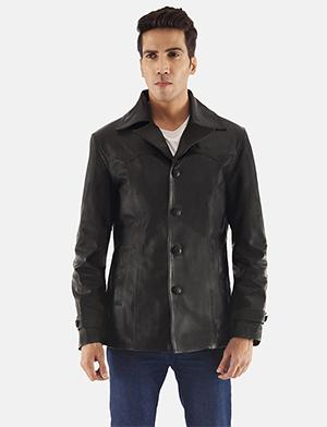 Leo Black Leather Coat