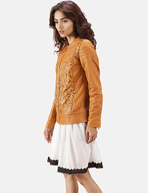 Womens Sandy Tan Dye Leather Biker Jacket