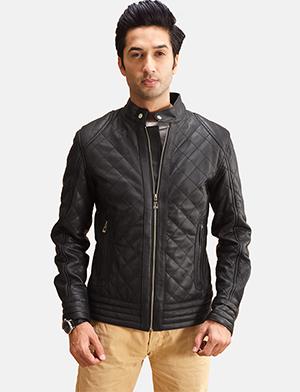Men's Henry Quilted Black Leather Jacket