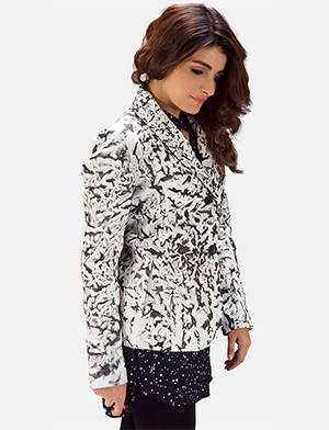 Womens Donna Blake White Leather Blazer