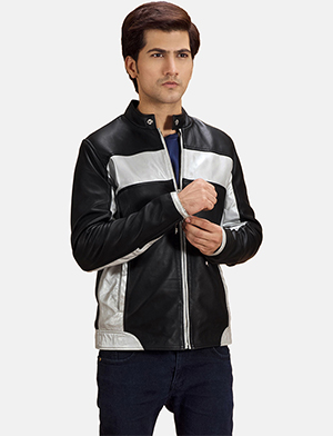 Mens Randolf Silver Black Leather Biker Jacket