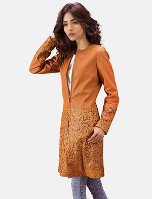 Womens Sandy Tan Dye Leather Coat