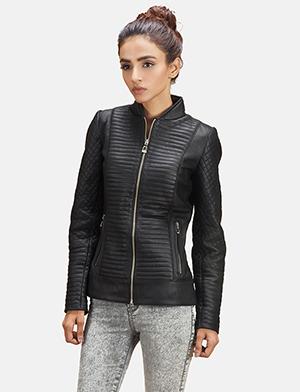 Womens Cityscape Black Leather Biker Jacket