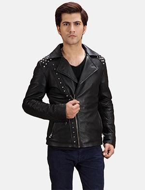 Mens Black Studded Leather Biker Jacket