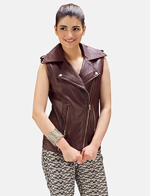 Womens Rhonda Maroon Leather Biker Vest