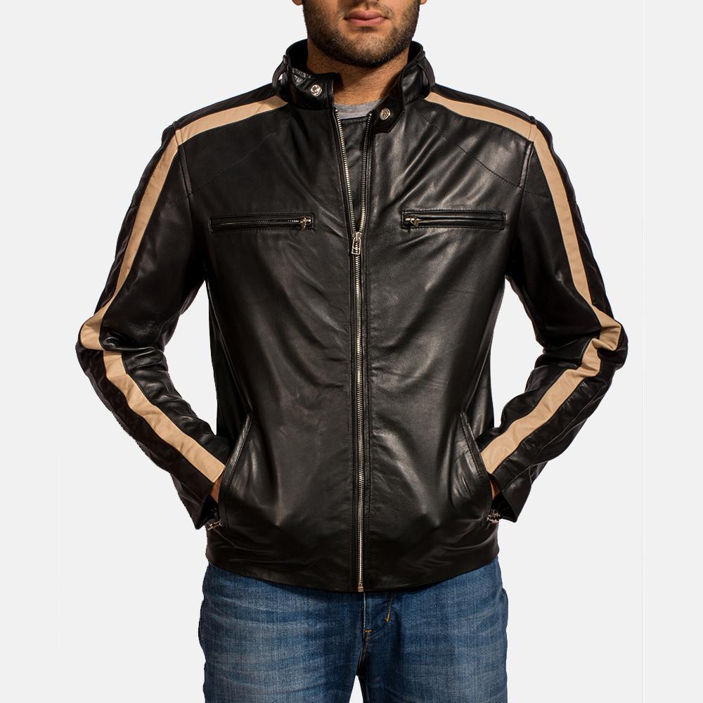 Mens Jack Black Leather Biker Jacket 6