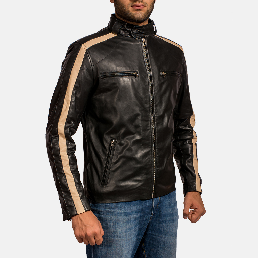 Mens Jack Black Leather Biker Jacket 3