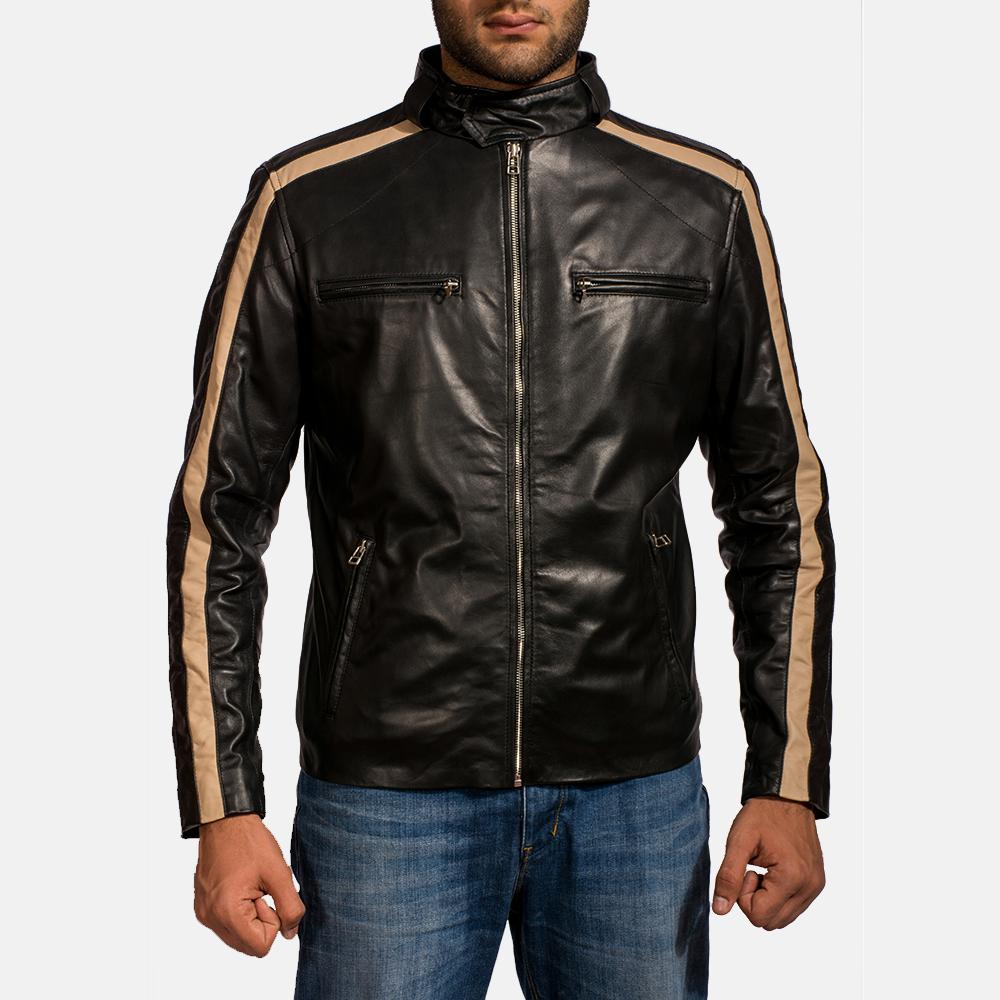 Mens Jack Black Leather Biker Jacket 1