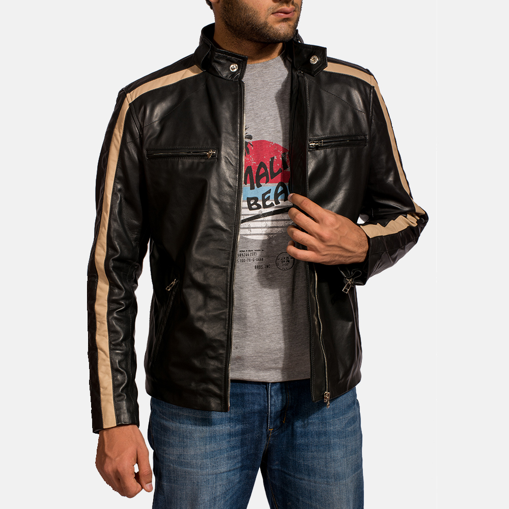 Mens Jack Black Leather Biker Jacket 2