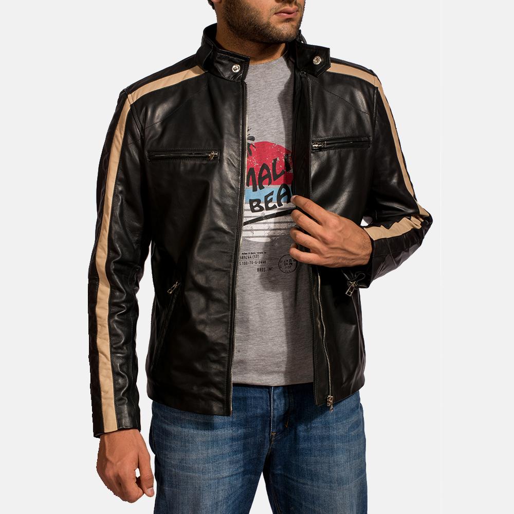 Mens Jack Black Leather Biker Jacket 2