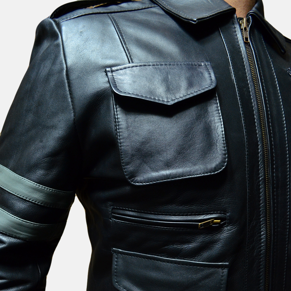 Mens Armstrong Black Leather Biker Jacket 2