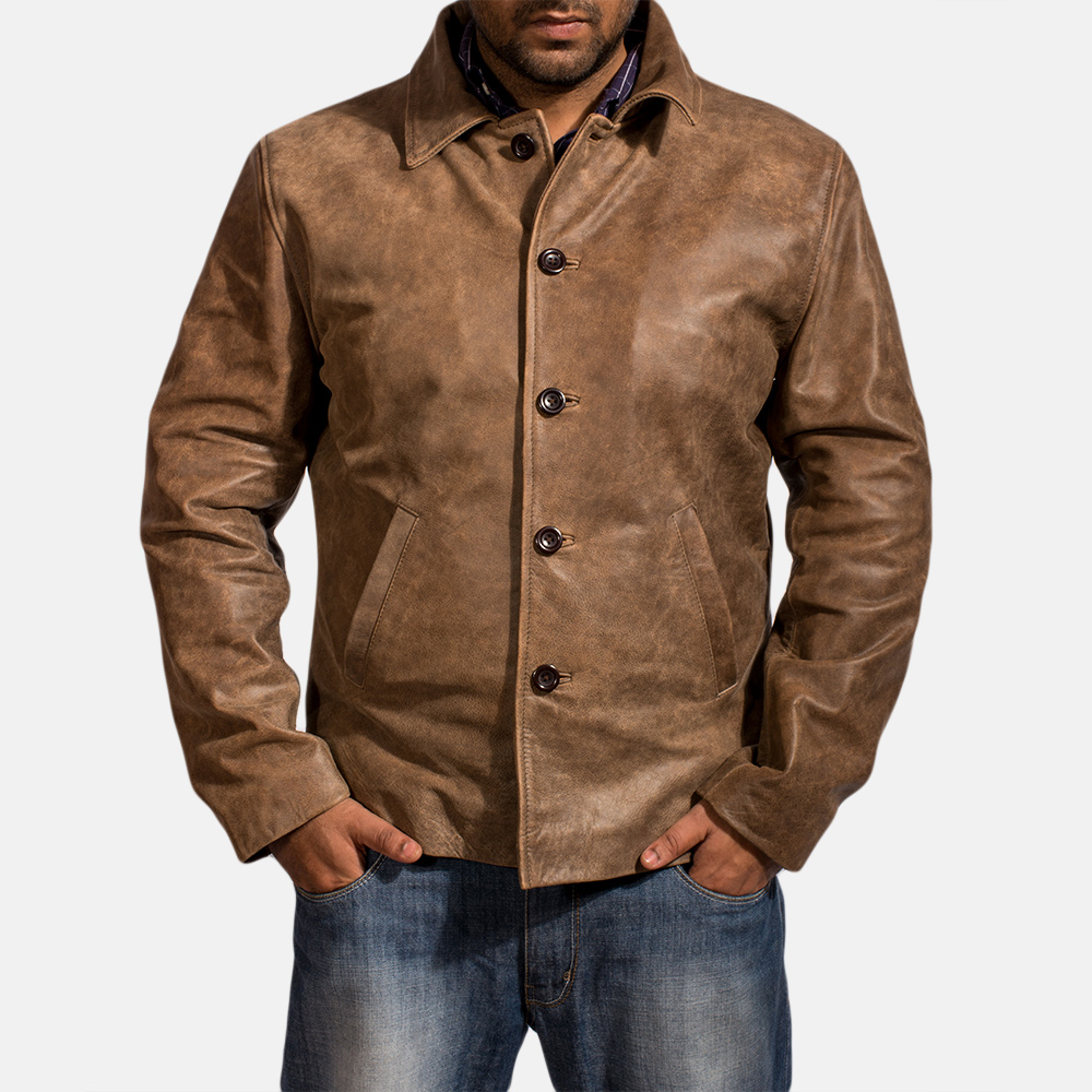 Mens Waffle Brown Leather Jacket 1