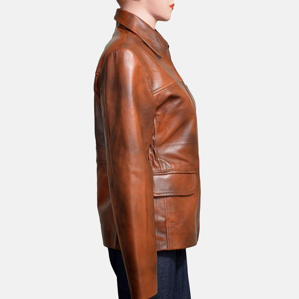 Womens Mildred Vince Brown Leather Jacket 3