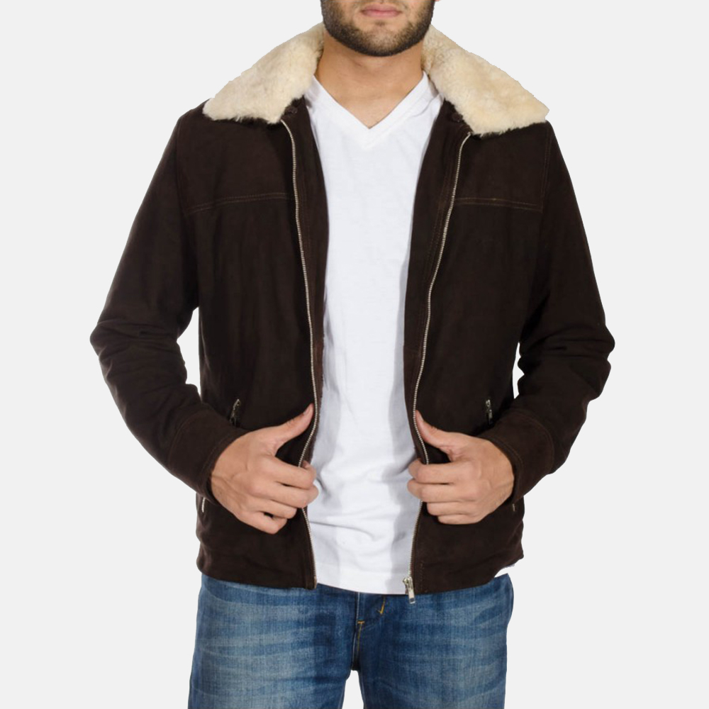 Mens Coffner Brown Shearling Fur Jacket 3