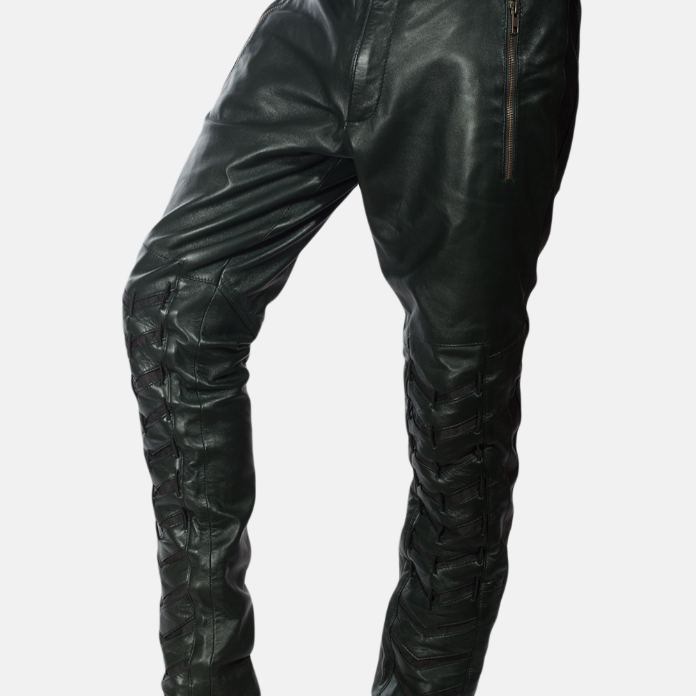 Mens Green Leather Pants 3
