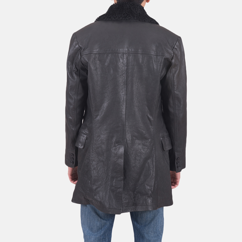 Mens Pierce Shearling Black Leather Jacket 5