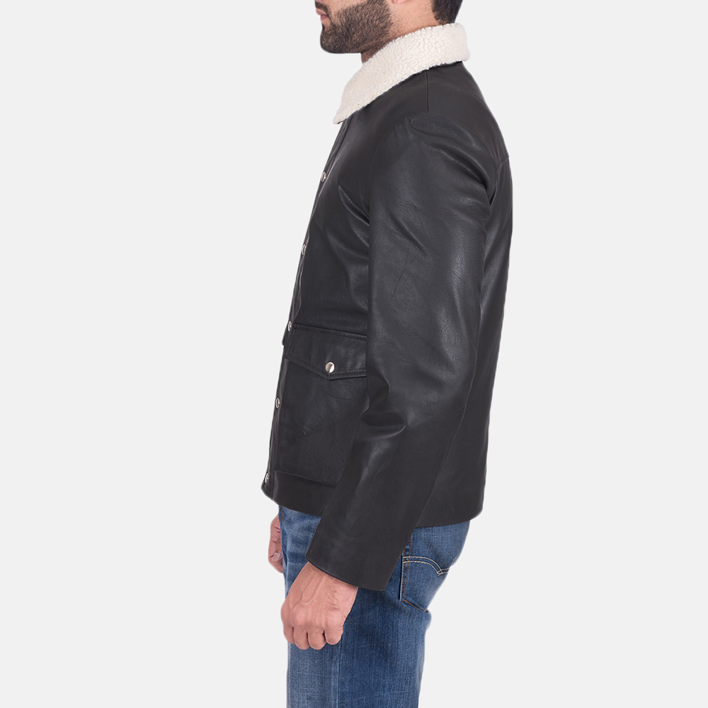 Mens Snow Cole Black Leather Jacket 3