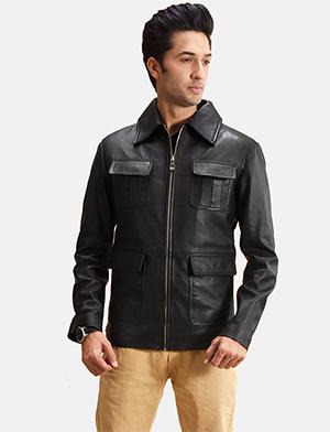 Mens Raven Black Leather Jacket