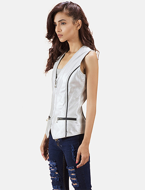 Womens Misfit  Metallic Silver Leather Vest