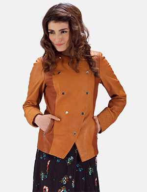Womens County Tan Overlap Leather Jacket