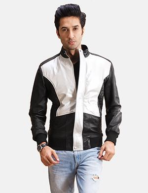 Mens Spade Silver Black Leather Bomber Jacket