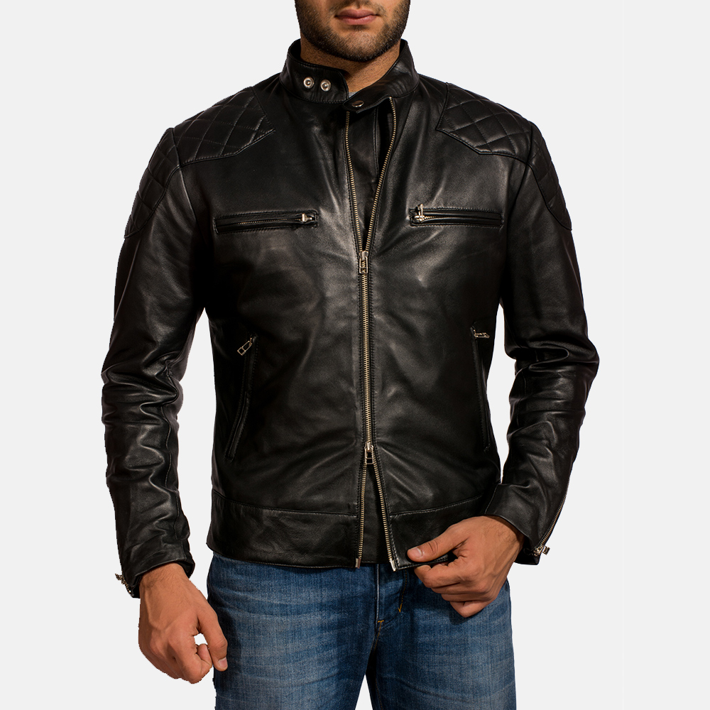 Mens Gatsby Black Leather Biker Jacket 1