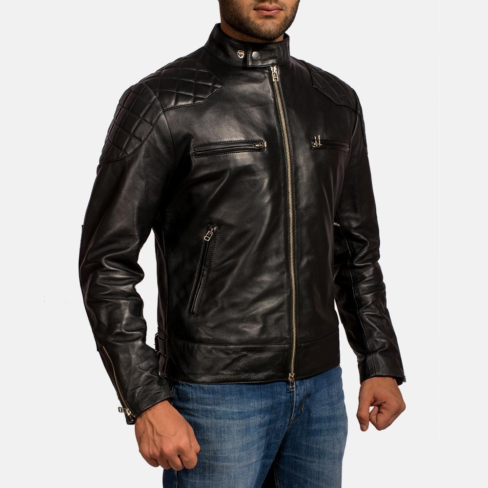 Mens Gatsby Black Leather Biker Jacket 2
