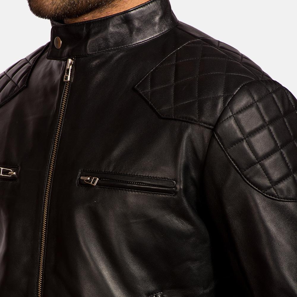 Mens Gatsby Black Leather Biker Jacket 5