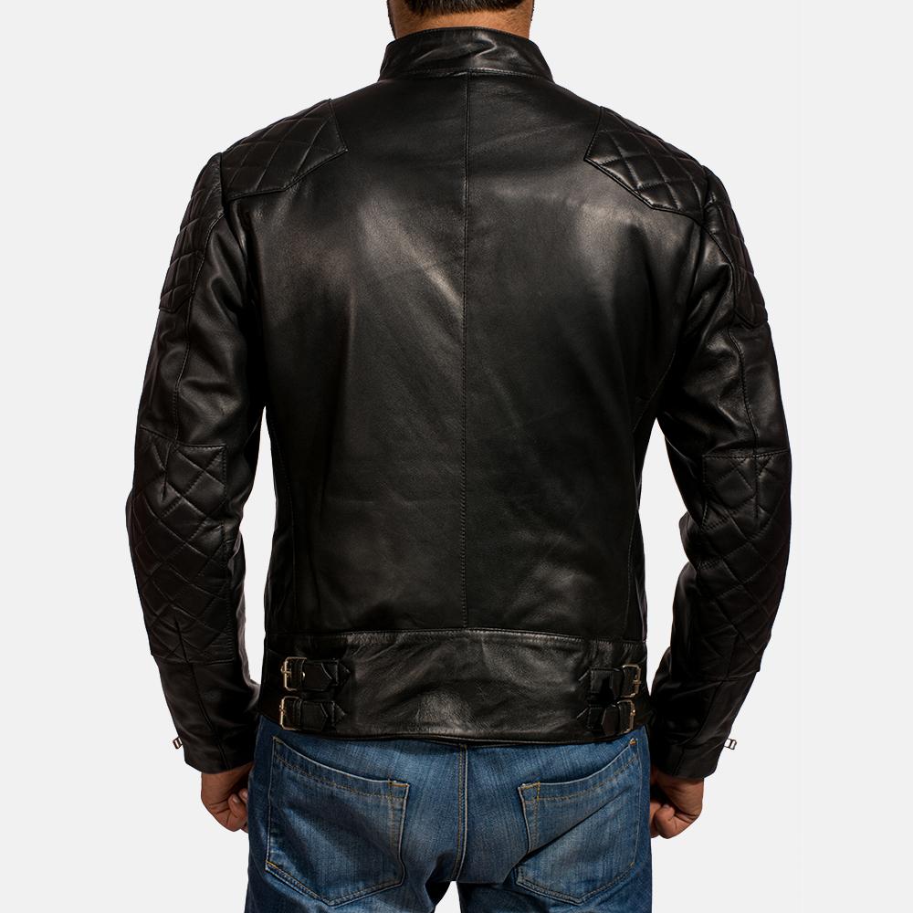Mens Gatsby Black Leather Biker Jacket 4