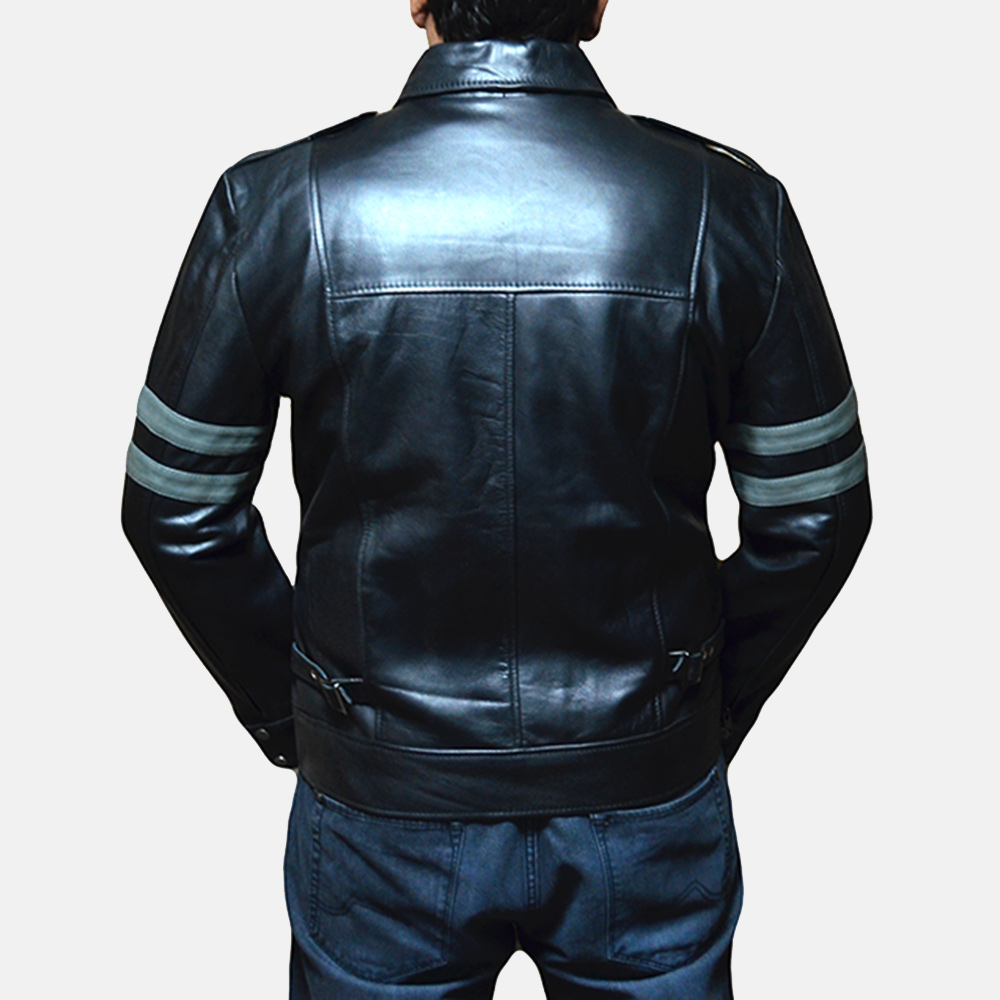 Mens Armstrong Black Leather Biker Jacket 4